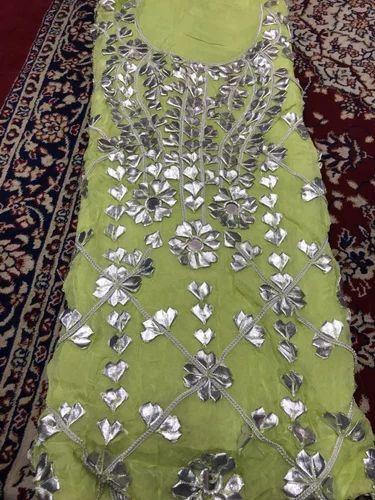 2dd6d5e82d Chiffon Gota Patti Unstitched Suit, Sabri Creation | ID: 18706568873