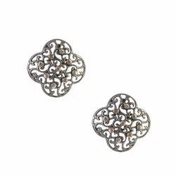Jewelmaze Silver Studs Earrings