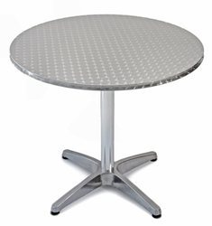 Round Mirror Finish Stainless Steel Dining Table