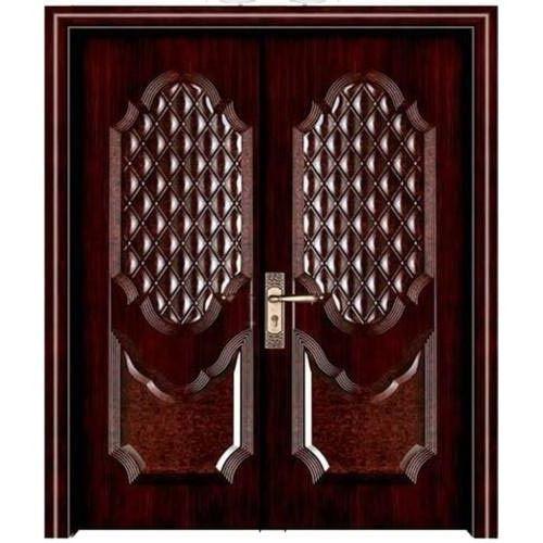 Brown Double Leaf Steel Security Door,Shape: Rectangular