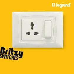 White Legrand 3 Pin Modular Switch Socket