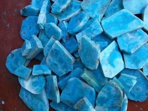 Custom Jewelry Larimar Rough Slabs, Size: Custom, For For Jewelry Making