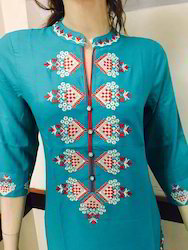 Rayon Long Embroidered Kurtis