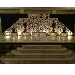 Fiber Golden Decorated Wedding Stage