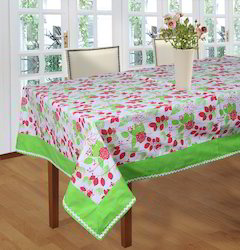 Floral Printed Table Cloth with Attached Border and Lace