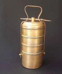 K&T Brass Tiffin Box, Size: 4 Box In 1 Set
