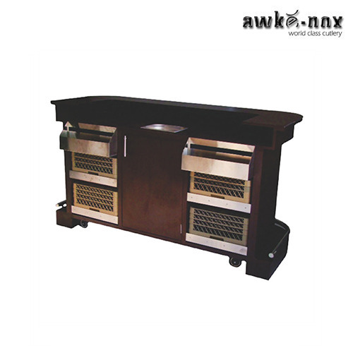 Wood And Steel Mobile Bar Counter Size 80 X 34 45 Inch