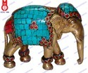 Elephant Trunk Down W/ Stone Work Statue