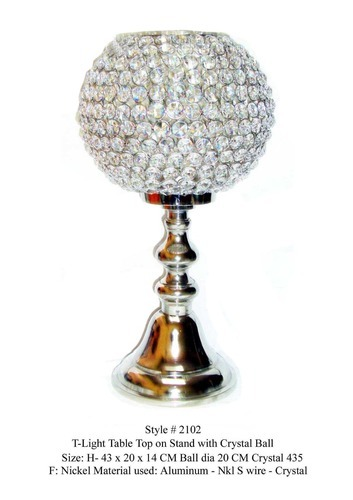 Crystal Light Holder - Crystal Ball T Light Holder with