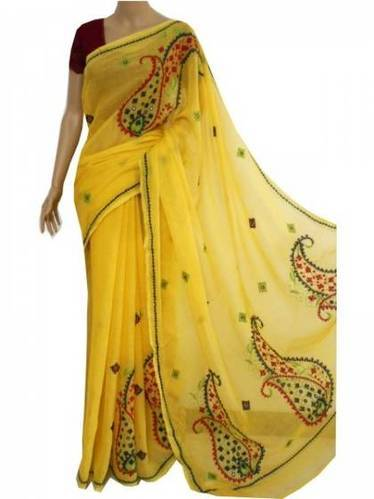Hand Embroidery Work Saree View Specifications Details Of