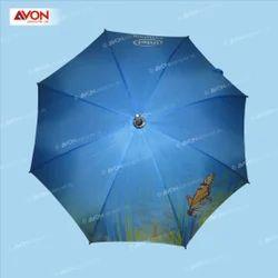 Blue Print Wooden Umbrella