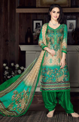 89e113f40b2 Beige ang Green Beautiful Unstitched Salwar Kameez at Rs 2075  piece ...