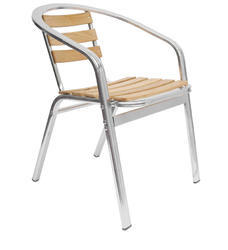 Wooden Strips Steel Cafe Chair