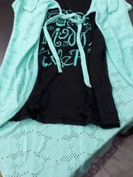 Medium Inner Black Shrug Sea Green Ladies Western Tops