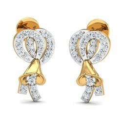 14k Hallmark Gold White Diamond Earring