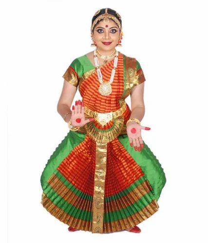 a05fdc3d6f6df Bharatanatyam Cotton Silk Parrot Green Red Checks Costume ...