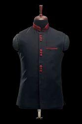 Black Self Embroidered Waistcoat