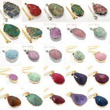 Color Druzy Silver Gemstone Necklace