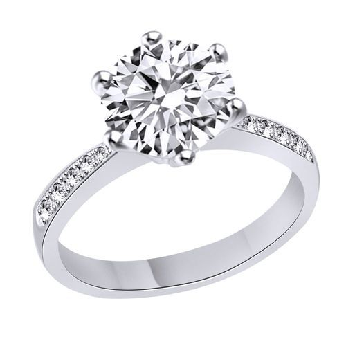 Sterling Silver Ring 925 With 14k White