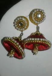 Shreeji Yellow & dark red Silk Thread Earing, Shape: Cone