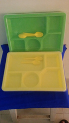 5 Compartment Tray With Lid  2  Spoon