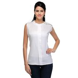 White Plain Sleeveless Ladies Tops