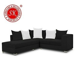 L Shape Black Sofa Set