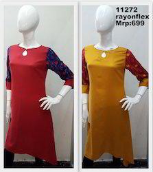 Tail Cut Rayon Flex Printed Kurta