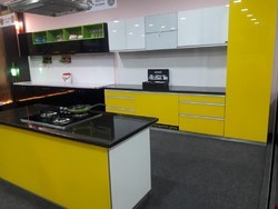 Laqured Glass Modular Kitchen