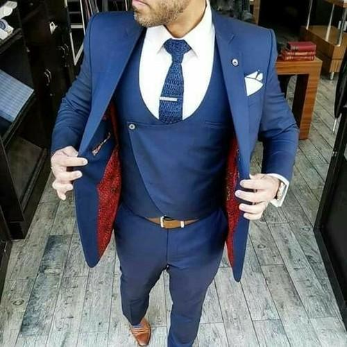 Wedding Party Blue Mens 3 Piece Suit