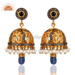 925 Silver Jewelry Blue Sapphire Traditional Diamond Earrings