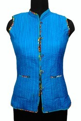 Ladies Printed Quilted Sleeveless Silk Jackets