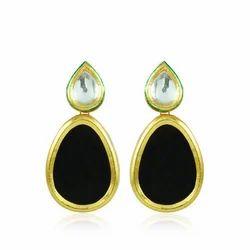 Black Sheet Kundan Earring