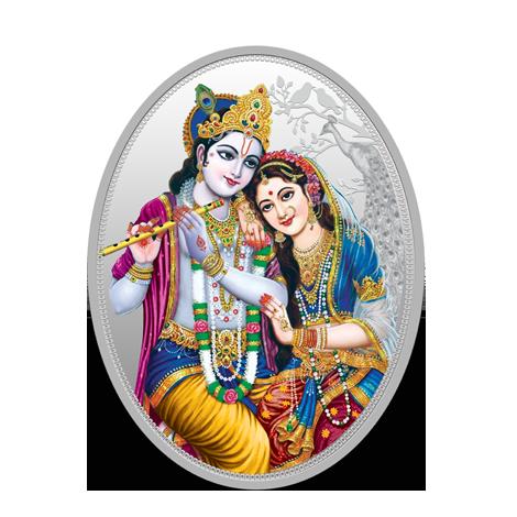 31 10 Gm Silver 999 9 Radha Krishna Oval Coin (capsule)