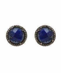Lapis Pave CZ Set Gemstone Earring Stud