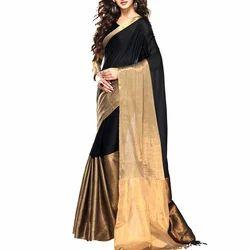 Half fine Zari Gold Body Designed Ladies Handloom Fancy Saree, With Blouse Piece
