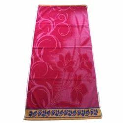 Pink Cotton Velour Jacquard Bath Towel