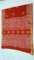 Many Colours Cotton Batik Hand Printed Saree