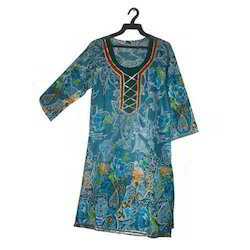 Cotton and Chiffon Full Sleeve Ladies Kurtis