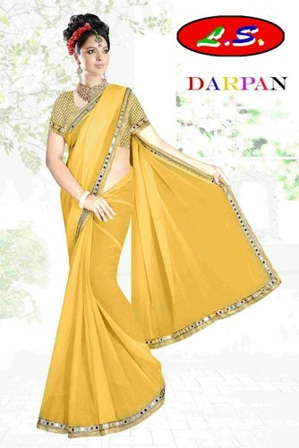 36fa21825dd39e Mirror Lace Plain Saree With Fancy Blouse, Rs 240 /piece | ID ...