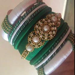 Dark Green and White Silk Thread Bangle Designer Set