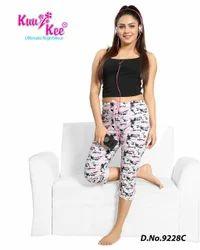Non-stretchable Hosiery KuuKee 9928 Women''s Capri Pajama Lowers