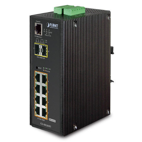 Black Industrial Power Over Ethernet Switch with SFP