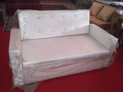 White Steel leather sofa, Size: 2 Seater - 3 Seater