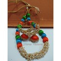 Silk Thread Necklace And Earrings, Shape: Round