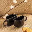 Exclusivelane Unique Half Ceramic Cups Set In Black