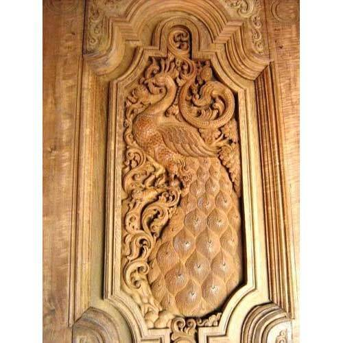 Brown Hand Crafted Wood Peacock Door Sizedimension 7ft Ht X 3
