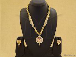 Dual Peacock Designer Thewa Necklace Set