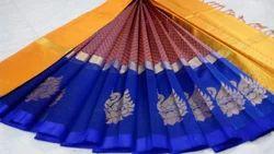 Border Wedding Wear Korvai Silk Cotton Sarees, With Blouse Piece
