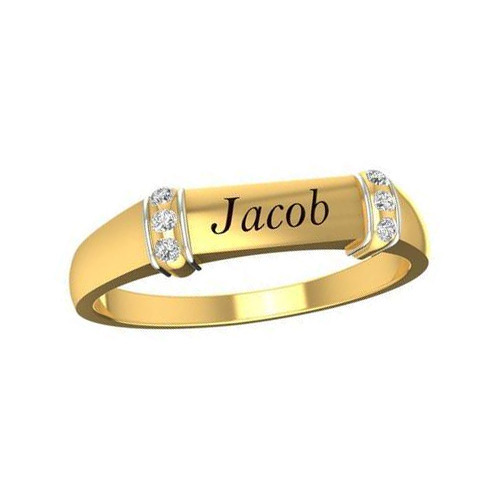 elegant women round couple gifts front ring lr engraved wedding zm name rings gold classic customized for